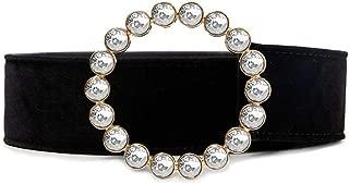 MYCHOMEUU Women's Round Alloy Diamond Belt Fashion Wild Velvet Girdle Europe and America Exaggerated Decorative Belt (Color : A, Size : 100cm)