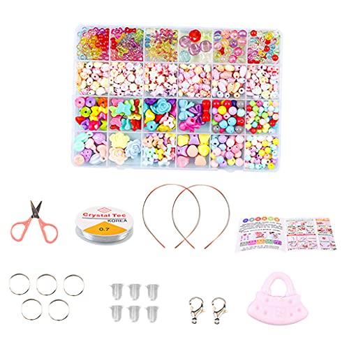 chiwanji Juego de Abalorios para niños para Hacer Joyas: Kits de Abalorios artesanales para niñas pequeñas, Collares de Bricolaje, Pulsera, Juegos Infantiles, Serie 1