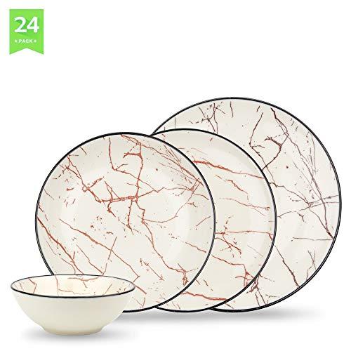 bonsoo Geschirrset 24-teilig aus Porzellan für 6 Personen -Tiefe Suppenteller, Flache Essteller, Dessertteller, Schüssel- Hochwertiges Vintage Tafelservice Kombiservice - Marmor Optik weiß/Bordo-Rot