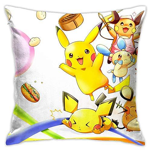 landianguangga Pikachu Funda de almohada decorativa de 45,7 x 45,7 cm para sofá cama silla