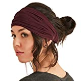 CCHARM Maroon Japanese Bandana Headbands for Men and Women – Comfortable Head Bands with Elastic Secure Snug...