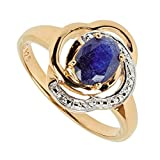 Harry Ivens Damen Ring aus Silber 925 vergoldet mit Saphir blau (60 (19.1))