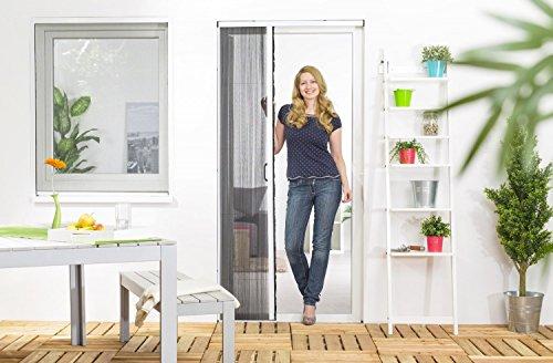 empasa Insektenschutz Fliegengitter Gaze Plissee Tür Aluminium 125 x 220 cm