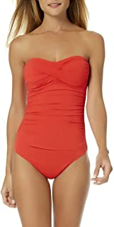 Women's Live in Color Twist Front Shirred Bandeau One Piece Swimsuit