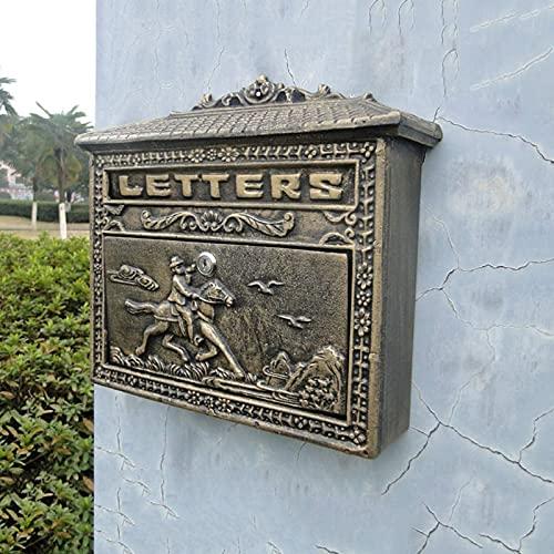 shandianniao Buzón de Correos de Correos de Pared de Bronce en Estilo Europeo jardín Villa decoración del hogar 36x9x32.8cm Mail   buzón (Color : Brass)