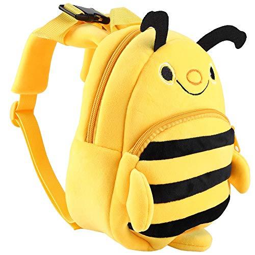 Kids Cartoon Backpack,Preschool Cartoon Little Bee Plush Bag Travel Lunch Bags Toddler Plush Bag for Children Boys Girls