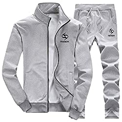 CATSAP Mens Athletic Tracksuit Full Zip Warm Jogging Sweat Suits 2PCS Jacket Elastic Pants Set Zipper Outwear