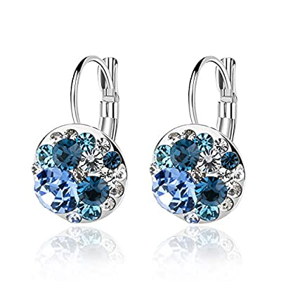 Multicolored Swarovski Crystal Earrings for Women 14K Gold Plated Leverback Dangle Hoop Earrings (Blue Main Crystal/Silver-tone)