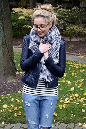TINGS Blanket écharpe à Carreaux écharpe en Cachemire Femmes écharpe d'hiver Chaud Grande écharpe carrée Acrylique Femmes Foulards châles, 21