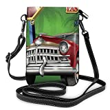 Women Small Cell Phone Purse Crossbody,Welcome Sign To Nevada With Retro Car And Roulette Table On Palm Tree Silhouettes