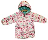 Pink and Mint Butterfly Reversible Rain Coat (12-18 m, Pink)