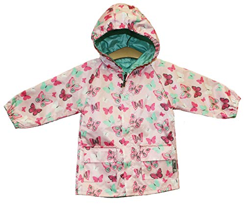 Pink and Mint Butterfly Reversible Rain Coat (9-12 Months, Pink)