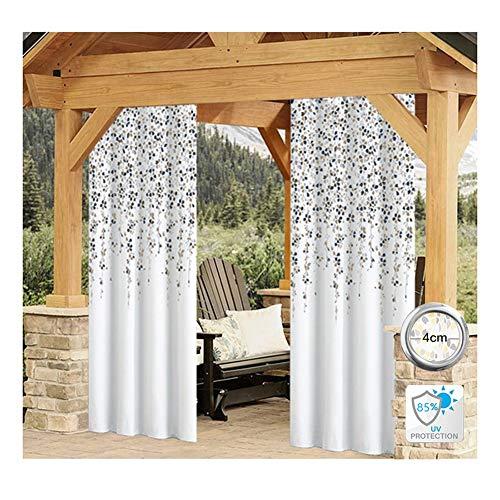 GDMING Cortinas Exterior Porche Impermeable 2 Paneles UV/Resistente Al Viento Ojales Top Pantalla De Privacidad Pañería para Kiosko Cabaña Balcón Decoración Toldo Personalizable