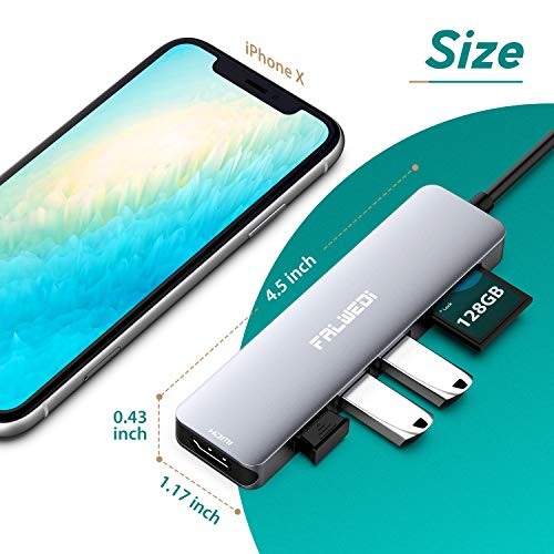 Falwedi 6 in 1 USB Type C HUB with to 4K@60Hz HDMI, USB 3.0 Ports, SD/TF Card Reader, Multiport Adapter Dongle for IPad MacBook Air Pro and Other Type C Laptops (Space Gray)