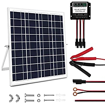 MEGSUN 20 Watt 12V Solar Panel Kit Waterproof Solar Panel with Charge Controller and Adjustable Mount Brackets for Battery Maintainer Trickle Chargers RV Car Boat Automotive Camping Roof  20 W