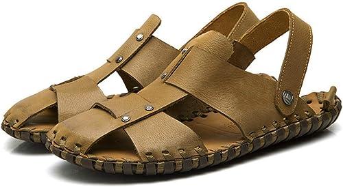 Hy Herren Sandalen, Leder 2019 Neue Sommer Strand Schuhe Outdoor Casual Hausschuhe Sandalen Herren Rutschfeste Strand Schuhe Sandalen Hausschuhe,Khaki,38