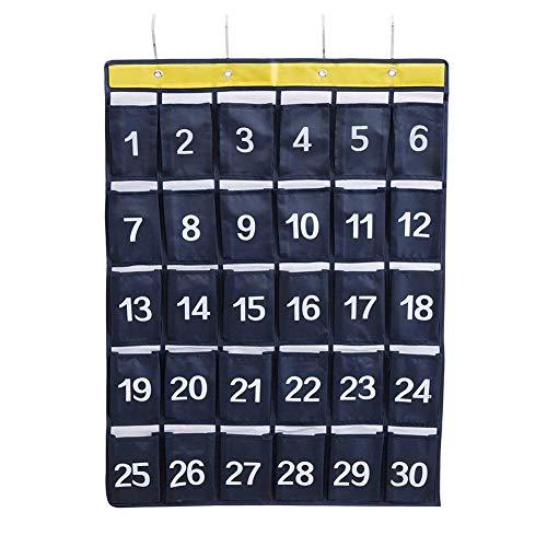 Freedomanoth Hängende Tasche Hängeorganizer Nummeriert Handys Tasche Klasse für Tür Wand Klassenzimmer Wohnheim 30 Grid Oxford Cloth