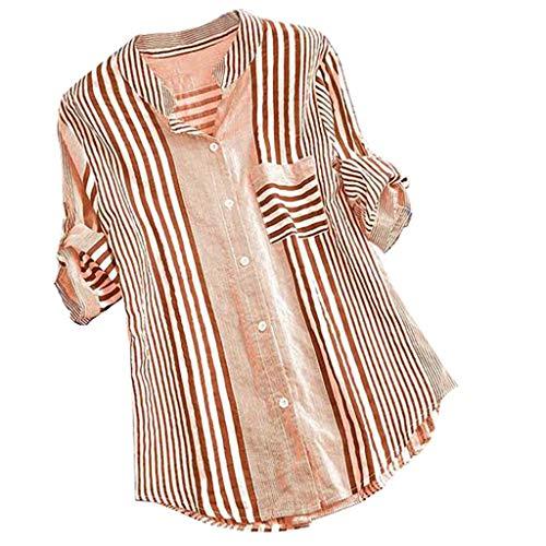 URIBAKY - Camiseta de manga larga para mujer, cuello en V, diseño de rayas