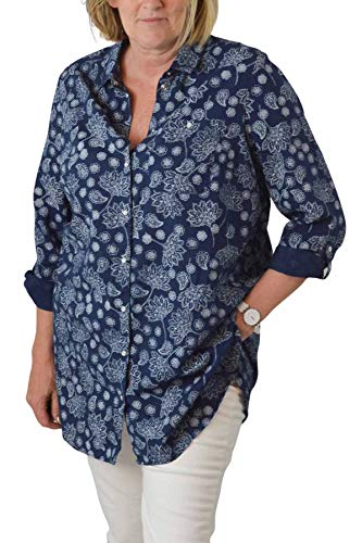 ex Yessica Damen Hemd, Leinen, mit Langen Ärmeln und Langen Ärmeln Gr. 46/48, Marineblau/weiß