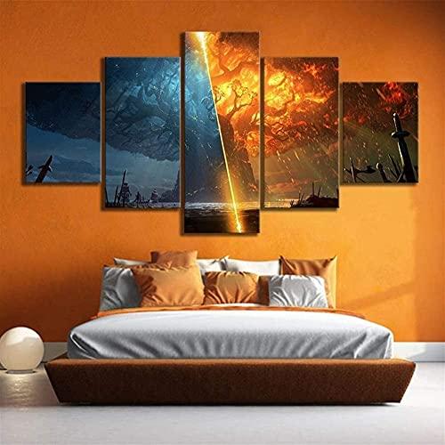 Xiaokang Pintura de Lienzo 5pc Burn World of Warcraft Battle para Azeroth Game Poster Lienzo Pintura Arte de la Pared para la decoración del hogar,B,L