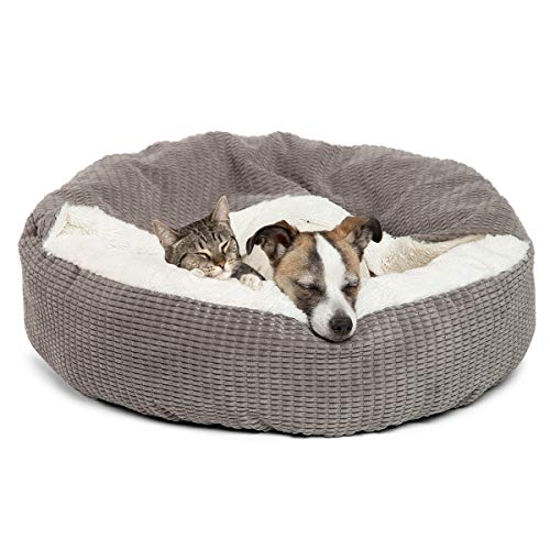 Best Friends by Sheri Cozy Cuddler Luxury Orthopedic Dog and Cat Bed with Hooded Blanket for Warmth and Security - Machine Washable, Water/Dirt Resistant Base - Standard Grey Mason