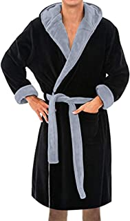 Mens Hooded Robe -Veepola Plush Shawl Bathrobe Soft Spa Full Length Warm  Bathrobe b87285e84