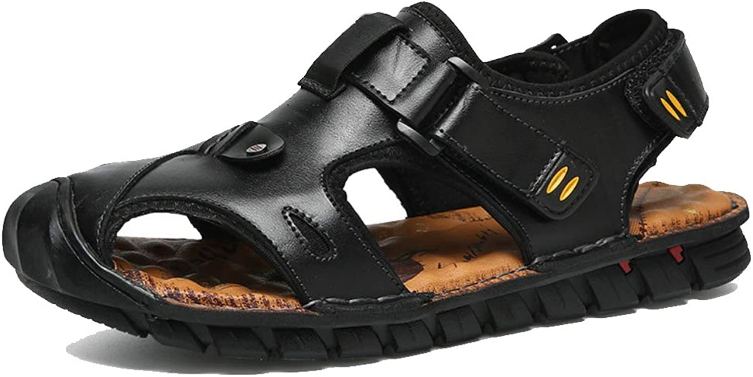 Outdoor Sports Sandals, Men's Leather Fisherman Breathable Sandals, Summer Casual Sports shoes, Walking Beach Travel, Rubber Sole Sandals Waterproof Breathable Non-slip Handmade,black,43