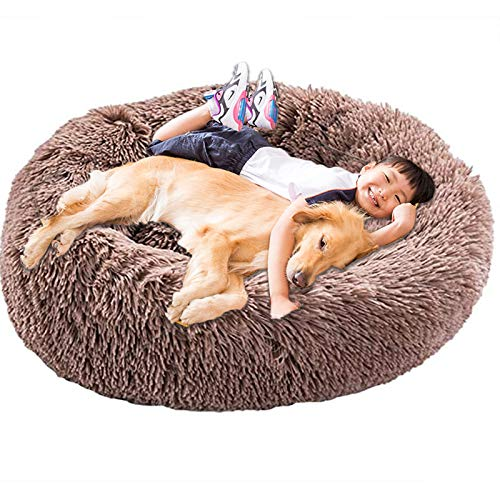 HANHAN Donut Plush Dog Bed Extra Large XXL Orthopedic Cosy Cushion Calming Wicker Anti Anxiety xxxl Sofa Fluffy Cave Sleep Basket Washable Medium Mattress xl Jumbo brown
