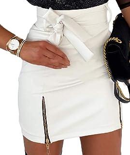 desolateness Women Sexy High Waist Faux Leather Zipper Detail Adjustable Belt Mini Skirt