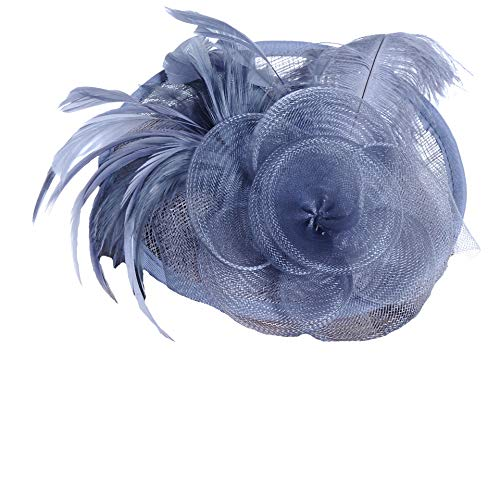 FORLADY Frühlings-und Sommer-Leinenstraußenfeder-Western-Art-Bankett-Hut-Cocktailhut-Feder-Maschen-Blumen-Haar-Klipp-Hut-Bankett-Hochzeits-Haarspangen