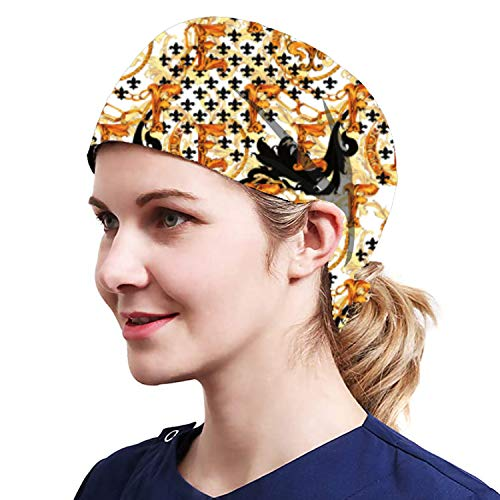 Alex Vando One Size Working Cap with Sweatband Adjustable Tie Back Hats Printed for Women,print06