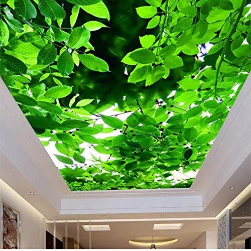 Dianer behang voor wandmontage, personaliseerbaar aan het plafond, 3D, groene bladeren, stereo, natuurlandschappen, fotopapier Size:120x100cm(47.24in By 39.37in)
