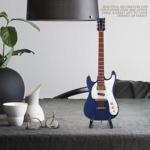 Atyhao Guitarra en Miniatura, 7.1in Modelo de Mini Guitarra eléctrica de Madera con Soporte Modelo de Instrumento Musical Hobby Coleccionables Regalo para Adornos para el hogar