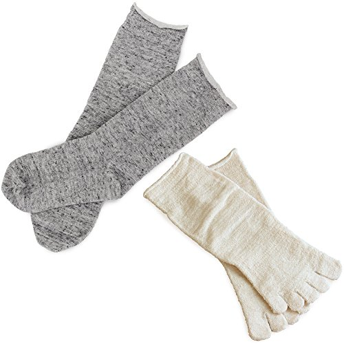 hiorie(ヒオリエ) 日本製 冷えとり靴下 内絹外綿ソックス <Mサイズ> 2足セット 5本指+カバーソックス 杢グレー シルク