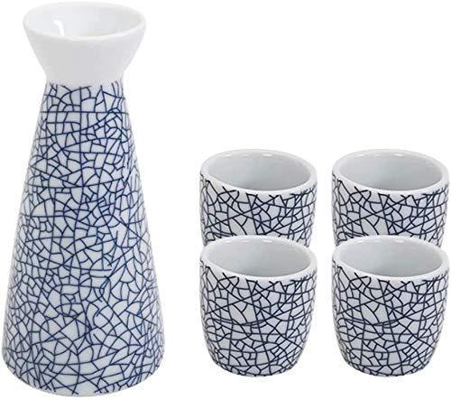 Mnjin Ensemble de Tasses à saké Exquis, Ensemble de saké, boîte de Jeu de Tasses à saké Bleu Ice Crack de 5 pièces, Tasses en céramique de Texture pittoresque, pour Froid/Chaud/Shochu/thé me