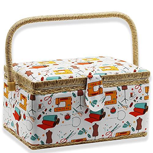 NOTIONSLAND 裁縫 道具箱 持ち手式 木製 大人 収納BOX かわいい 贈り物 お祝い 結婚祝い 敬老の日 母の日 お礼 記念品 手作り (27.50*17.00*15.00(オレンジ針と糸))