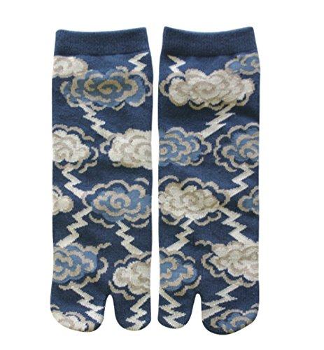 Maeda Tabi Socken Größe 40-46 Samurai Socken mit geteiltem Zeh (Gewitter)