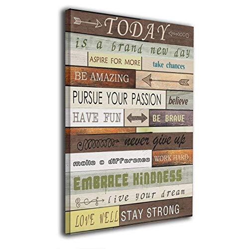 Art-logo Today Is A Brand New Day Canvas Print Inspirational Quotes Wall Art Painting For Home Decor Vintage Picture Giclee Artwork Decoration Wood Grain Looking Textual Gallery-Wrapped 16'x20'