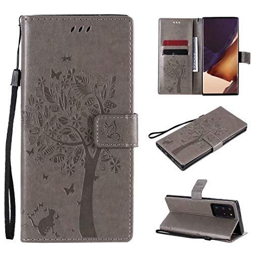Miagon für Samsung Galaxy S20 FE Geldbörse Wallet Case,PU Leder Baum Katze Schmetterling Flip Cover Klapphülle Tasche Schutzhülle mit Magnet Handschlaufe Strap