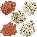 (300 pcs)100 Etichette Cucito in Cuoio Handmade with Love Tag per Vestiti+100 Eticchette Handmade Stoffa in Tessuto Eticchette a Mano+100 Bottoni Rotondi in Legno Fai Da Te Tag PU per Abbigliamento