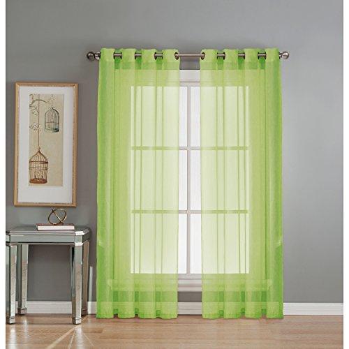 Fenster-Elemente, Diamant-Voile-Vorhang, extra breit, mit Ösen Vorhang-Paneel 56x90 Lime