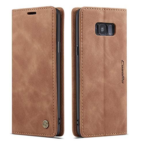 QLTYPRI Hülle für Samsung Galaxy S8 Plus, Vintage Dünne Handyhülle mit Kartenfach Geld Slot Ständer PU Ledertasche TPU Bumper Flip Schutzhülle Kompatibel mit Samsung Galaxy S8 Plus - Braun