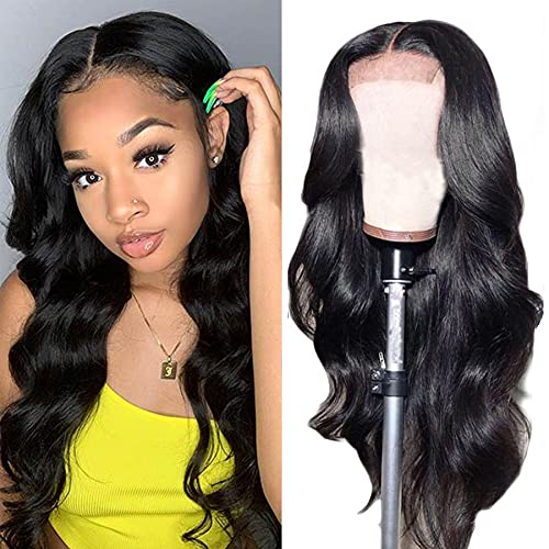 Lace Front Wigs Human Hair Wigs For Black Women, Glueless Body Wave 4X4 Lace Closure Wigs Human Hair 150% Density Brazilian Virgin Hair Pre Plucked With Baby Hair Natural Color (22 Inch)