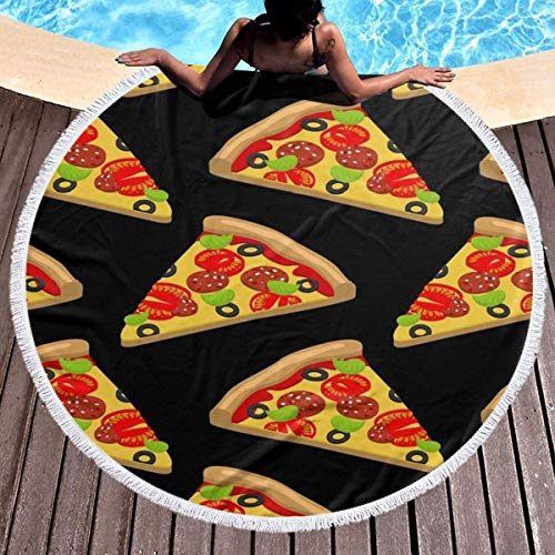 Tasty Pizza Toalla de playa redonda gruesa, con borla circular, manta de picnic al aire libre, decoración de playa de microfibra para mujer