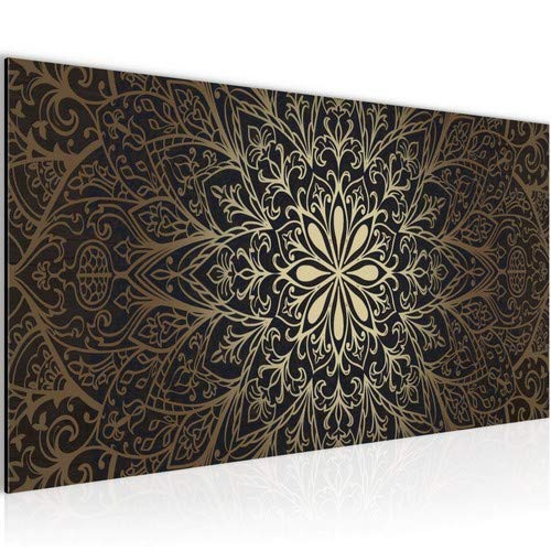 Bilder Mandala Abstrakt Wandbild 100 x 40 cm Vlies - Leinwand Bild XXL Format Wandbilder Wohnzimmer Wohnung Deko Kunstdrucke Braun 1 Teilig - Made IN Germany - Fertig zum Aufhängen 107412a