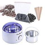 Set d'Épilation 500 ml Machine à Chauffe Cire + 100g Perles de Cire + 5 pcs Spatules en Bois Épilation pour le Salon de Beauté et à la Maison (Chocolat)