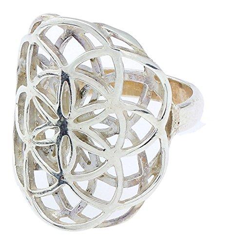 Chic-Net Ringe Blume des Lebens doppelt White Brass versilbert Silber Tribal Schmuck | Ring Messing breit groß Frauen Männer | Fingerringe Damen...
