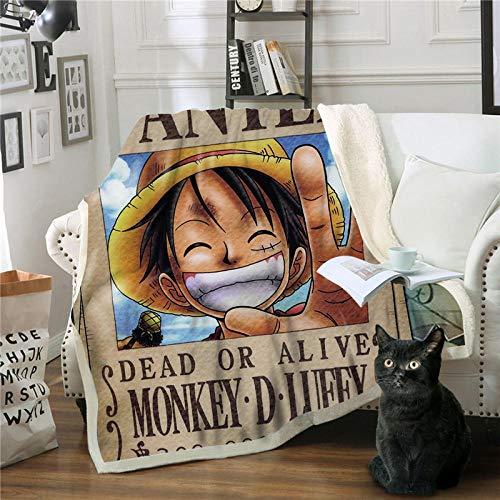 TAGEXZ Couvertures et Plaids Anime One Piece Mignon Luffy Imprimé Doux en Molleton en Peluche Couverture Bureau Pause Couverture Famille Canapé Lit Couverture (A) 150 * 200cm