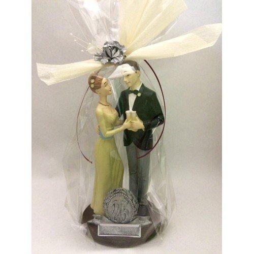 Figura pastel bodas de plata 25 aniversario GRABADA muñecos PERSONALIZADOS para tarta...