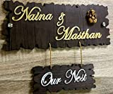 Aarushi Creations Home/Door Name Plate with Golden Mirror Shine Acrylic Embossed Letters, Laser Cut (Dark Brown, 13 x 12 in)